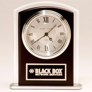 Black Bevel Glass Clock
