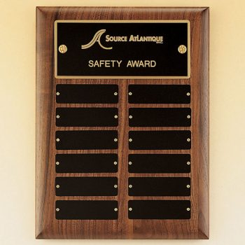 Black Brass Perpetual Walnut Plaque