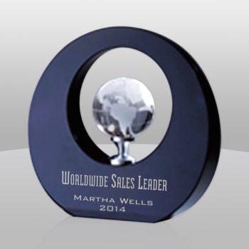 Black Round Globe Crystal Award