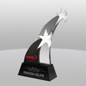 Black Shooting Star Crystal Award