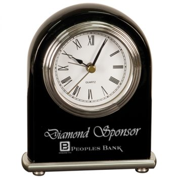 Black Silver Arch Desk Clock