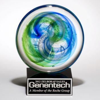 Blue Green Round Art Glass