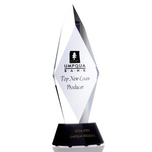 Clear Black Torch Liberty Crystal Award