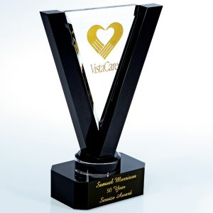 Clear Black Victory Crystal Award