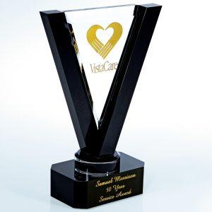 Clear Black Victory Crystal Award