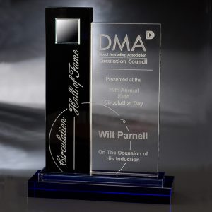Clear Blue Black Marquee Crystal Award