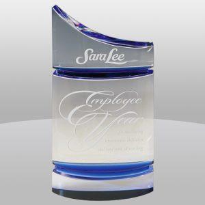 Clear Blue Sparkle Crystal Award