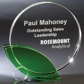 Clear Green Leaf Crystal Award