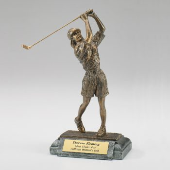 Female Golfer Resin Figurine