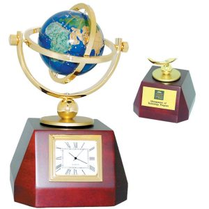 Globe Clock Gold Brass Rosewood