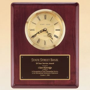 Gold Clock Rosewood Plaque