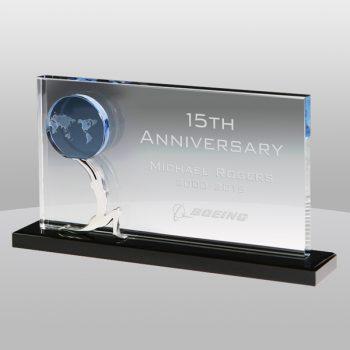 Holding Globe Rectangle Crystal Award