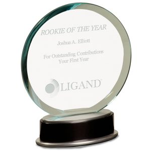 Jade Black Round Glass Award