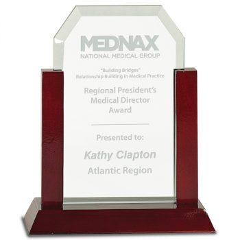 Jade Rosewood Upright Glass Award