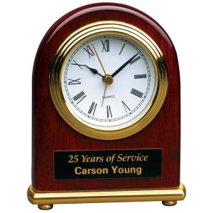 Rosewood Gold Arch Desk Clock