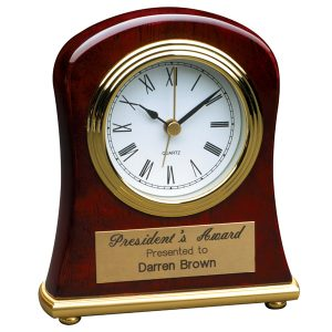 Rosewood Gold Bell Desk Clock