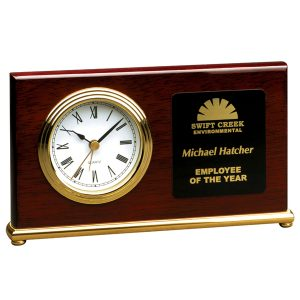 Rosewood Gold Horizontal Desk Clock