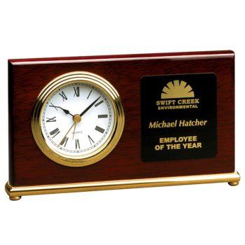 Rosewood Gold Horizontal Desk Clock