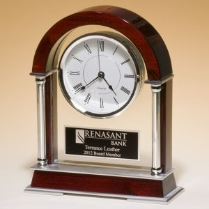 Rosewood and Silver Clock