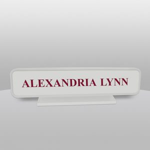 Round Gray Desk Name Plate