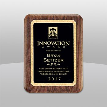 Solid Walnut Plaque with Black Brass Plate and Golf Florentine Border