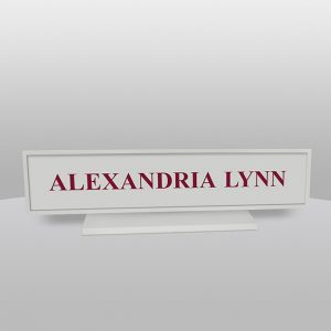 Square Gray Desk Name Plate