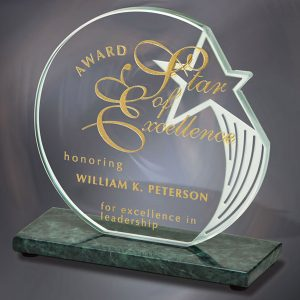 Star Jade Crystal Green Marble Award