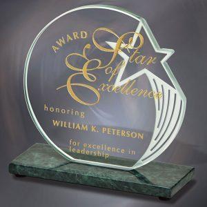 Star Jade Crystal Green Marble Award
